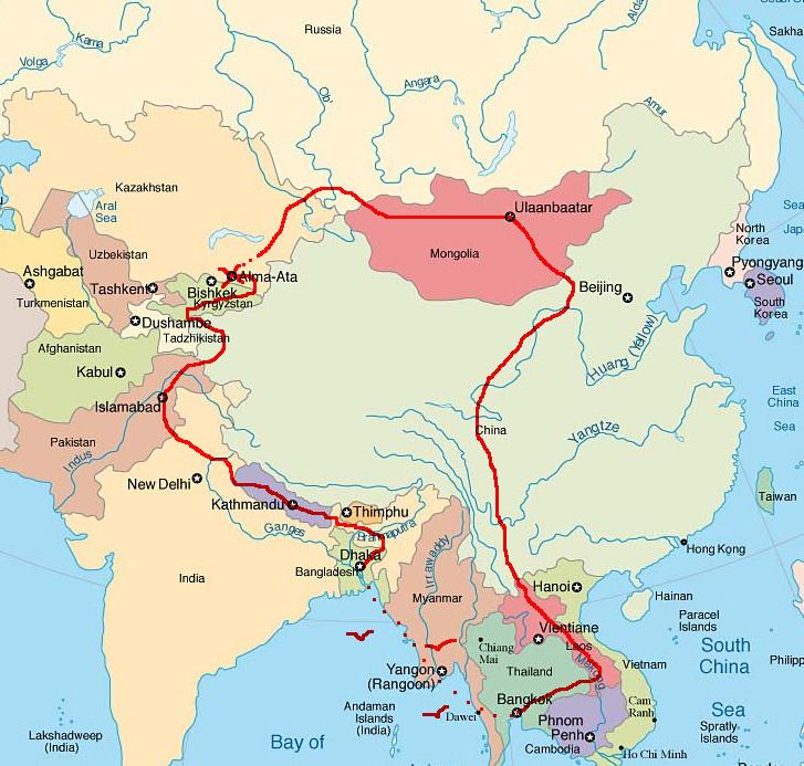 carte asie tracé nouveau